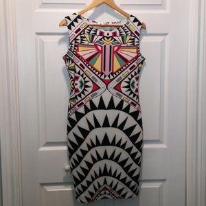 Ma Ka Ka Geometric Print Body Con Dress